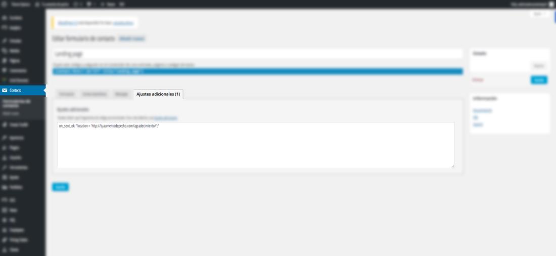 como crear pagina de agradecimiento con contact form7 cuarto paso